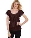 Top, Short-Sleeve Ruffled Tiered