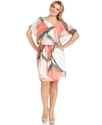 Plus Size Dress, Short-Sleeve Printed Blouson
