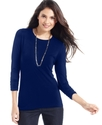 Petite Top, Three-Quarter-Sleeve Ruched Tee