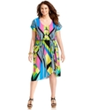 Plus Size Dress, Short-Sleeve Printed