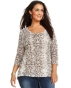 Jeans Plus Size Top, Three-Quarter Sleeve Snakeski