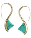 RACHEL Rachel Roy Earrings, Worn Gold-Tone Turquoi