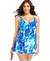 Plus Size Swimsuit, Tropical-Print Empire Swimdres