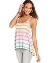 Juniors Top, Sleeveless Striped High-Low Tank