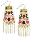 Haskell Earrings, Gold-Tone Multi-Color Bead Fring