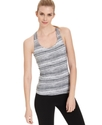 Performance Top, Sleeveless Basketweave Striped Ta