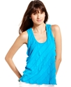Juniors Top, Sleeveless Asymmetrical Tiered Tank
