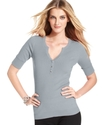 Petite Sweater, Short-Sleeve Rhinestone Henley
