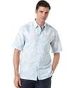 Shirt, Linen Blend Short Sleeve Leaf Print Shirt