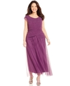 Plus Size Dress, Cap-Sleeve Pleated Gown
