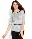 Sweater, Short-Sleeve Metallic-Spacedyed Peplum