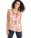Top, Sleeveless Floral-Print Ruffled