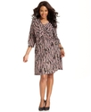 Plus Size Dress, B-Slim Three-Quarter-Sleeve Print