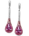 Sterling Silver Earrings, Pink Crystal Drop Earrin