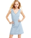 Juniors Dress, Sleeveless Chambray A-Line