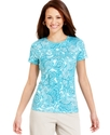 Petite Top, Short-Sleeve Paisley-Print Tee