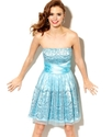 Juniors Dress, Strapless Glitter A-Line
