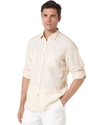Shirt, Linen Blend Long Sleeve Double Pocket Shirt