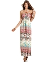 Juniors Dress, Sleeveless Printed Halter Maxi
