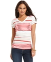 Petite Top, Short-Sleeve Striped V-Neck