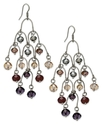Earrings, Silver-Tone Glass Accent Horseshoe Chand