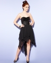 Juniors Dress, Strapless Sequin High-Low