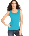 Petite Top, Sleeveless Satin-Trim Tank
