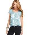 Juniors Top, Short Sleeve Burnout Tee
