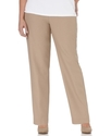 Plus Size Pants, Pull On Straight Leg, Tan
