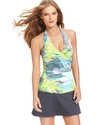 Swimsuit, Halter Printed Twist-Front Tankini Top W