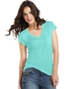 Top, Cap-Sleeve V-Neck Tee