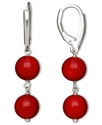 Sterling Silver Earrings, Red Agate 2 Bead Earring