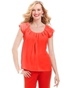 Top, Short-Sleeve Pleated Scoop-Neck