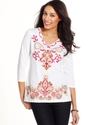 Petite Top, Three-Quarter-Sleeve Embroidered Tunic
