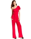 Juniors Jumpsuit, One-Shoulder Ruffled Wide-Leg