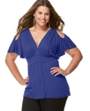 Plus Size Top, Cold Shoulder Empire Waist