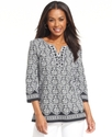 Top, Three-Quarter-Sleeve Printed Beaded Tunic