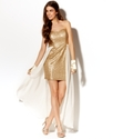 Juniors Dress, Strapless Sequin Chiffon