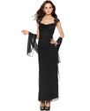 Xscape Dress, Cap Sleeve Lace Draped Shawl