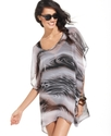 Cover Up, Short-Sleeve Animal-Print Tunic Women's