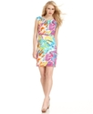 Petite Dress, Cap-Sleeve Printed Belted Sheath