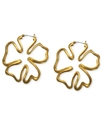 Earrings, 14k Gold-Plated Floral Hoop Earrings