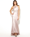 Morgan Juniors Dress, Halter Backless Satin Gown
