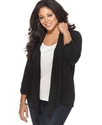 Plus Size Cardigan, Three Quarter Sleeve Open Fron