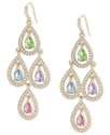Earrings, Gold-Tone Multi-Color Pear Crystal Chand