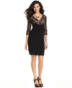 Dress, Three-Quarter-Sleeve Illusion Lace Sheath