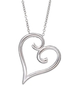 Sterling Silver Necklace, Swirl Heart Pendant