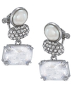 Earrings, Silver-Tone Glass Simulated Pearl Triple