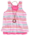 Kids Shirt, Girls Layered Tank and Necklace
