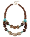 Haskell Necklace, Silver-Tone Brown and Turquoise-